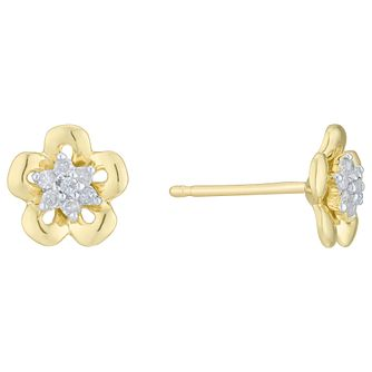 9ct Yellow Gold  & Diamond Flower Stud Earrings - Product number 6241980