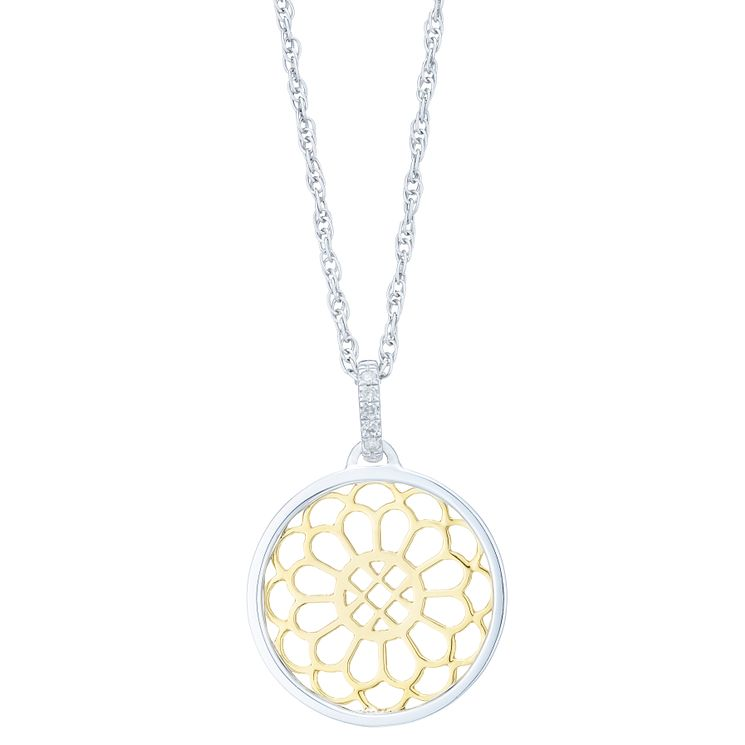 Sterling Silver & 9ct Yellow Gold  Diamond Pendant - Product number 6241999