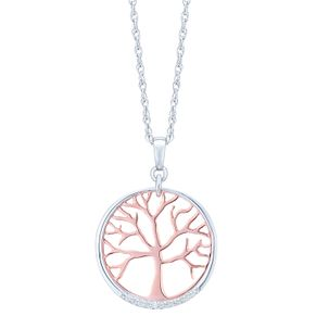 Silver, Rose Gold & Diamond Tree Of Life Design Pendant - Product number 6242022