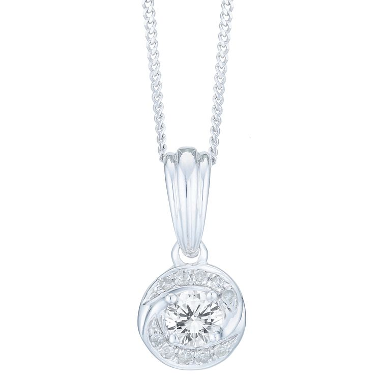 9ct White Gold 0.15ct Diamond Pendant - Product number 6242030