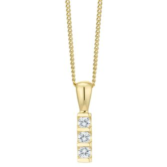 9ct Gold 0.10 Carat Diamond 3 Stone Bar Set Pendant - Product number 6242057