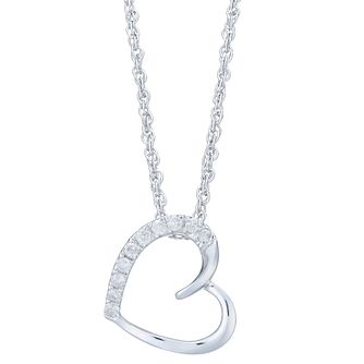 Sterling Silver & 0.10ct Diamond Heart Pendant - Product number 6242073
