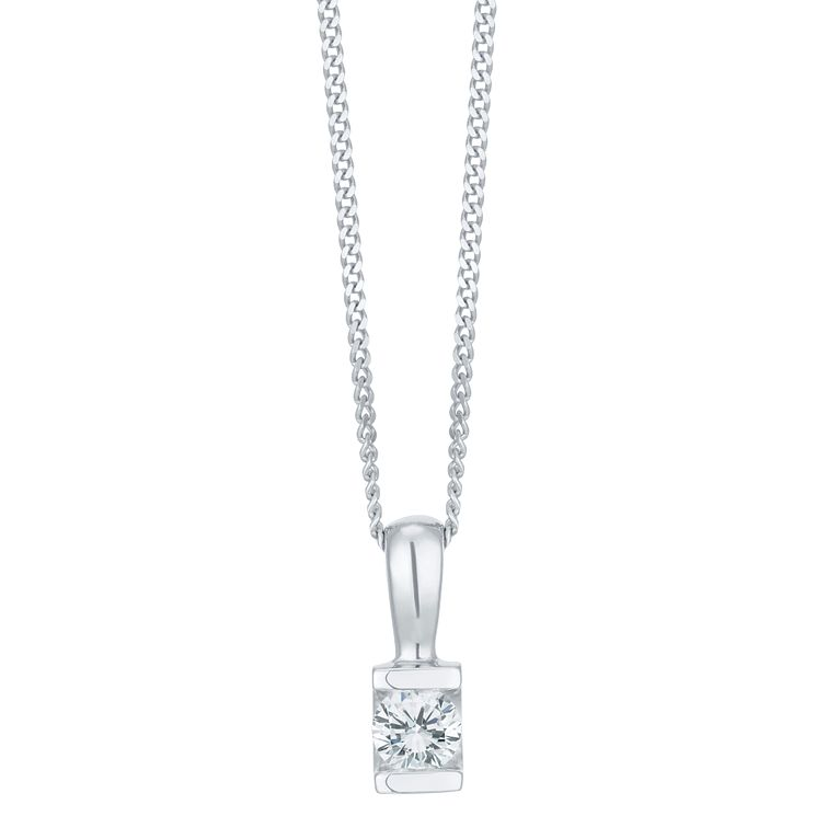 9ct White Gold 0.10 Carat Diamond Bar Set Pendant - Product number 6242111