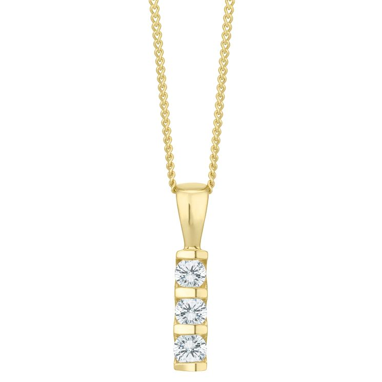 9ct Gold 1/5 Carat Diamond 3 Stone Bar Set Pendant - Product number 6242154