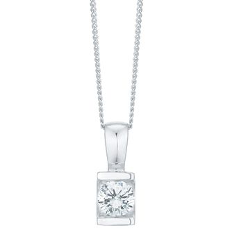 9ct White Gold 0.30 Carat Diamond Bar Set Pendant - Product number 6242170