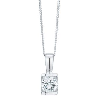 9ct White Gold 0.40 Carat Diamond Bar Set Pendant - Product number 6242197