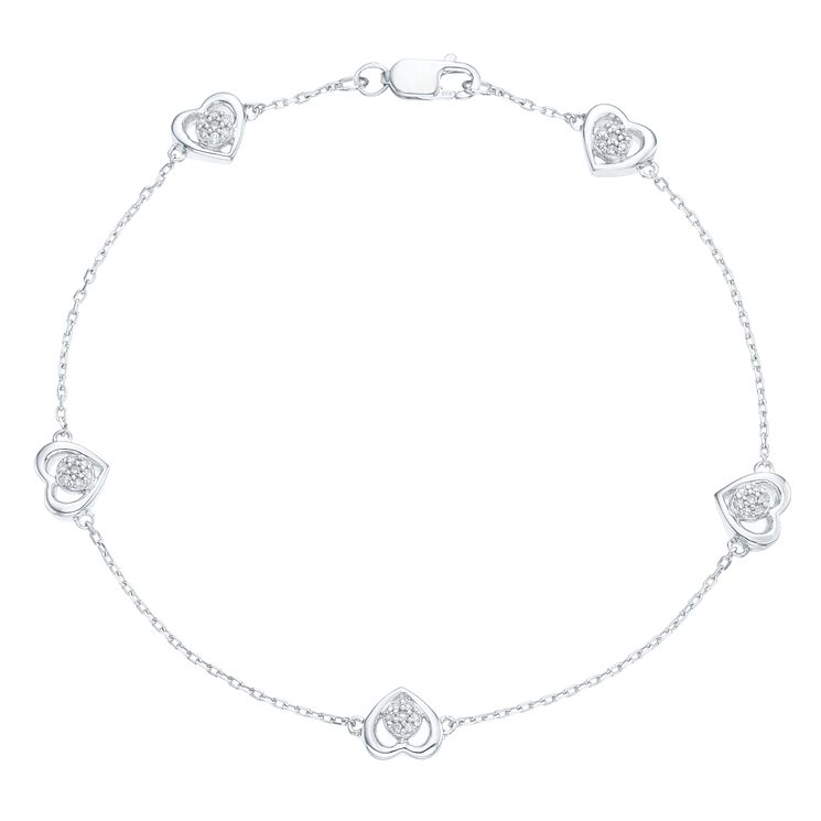 Sterling Silver 1/10 Carat Diamond Heart Chain Bracelet - Product number 6242219