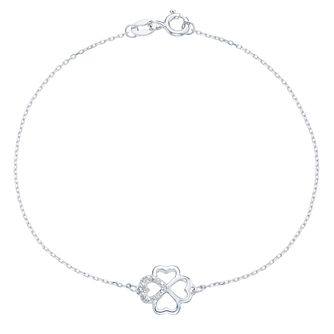 Sterling Silver Diamond Clover Chain Bracelet - Product number 6242235