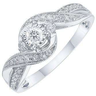 9ct White Gold 1/5 Carat Diamond Solitaire Ring - Product number 6242510