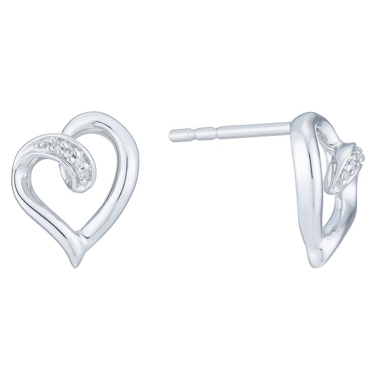 9ct White Gold Diamond Heart Earrings - Product number 6245676
