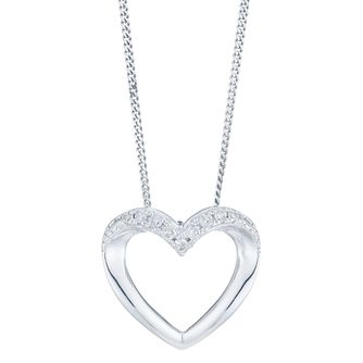 9ct White Gold Diamond Heart Pendant - Product number 6245722