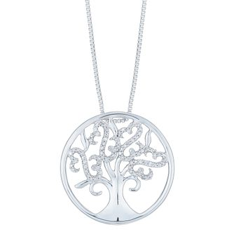 Open Hearts by Jane Seymour Silver & Diamond Tree Pendant - Product number 6245838