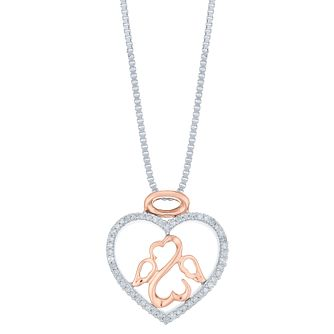 Open Hearts Silver, Rose Gold & Diamond Angel Heart Pendant - Product number 6245854