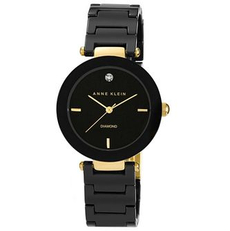 Anne Klein Ladies' Diamond Set Black Ceramic Bracelet Watch - Product number 6246028