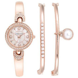 Anne Klein Ladies' Rose Gold-Plated Bangle Watch & 2 Bangles - Product number 6246036