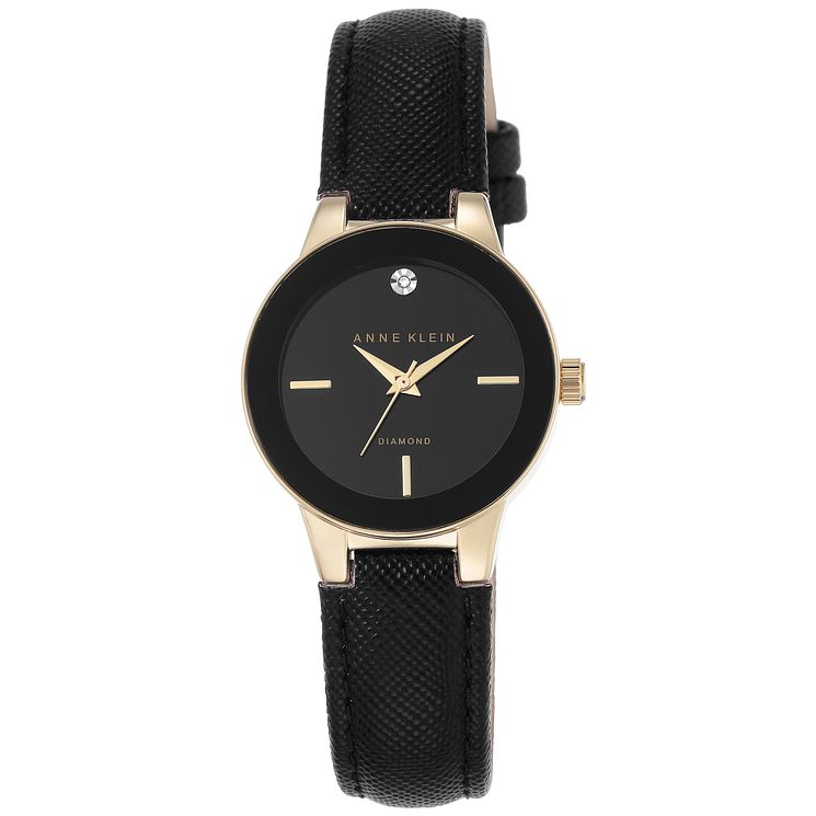 Anne Klein Ladies' Diamond Set Black Leather Strap Watch - Product number 6246044