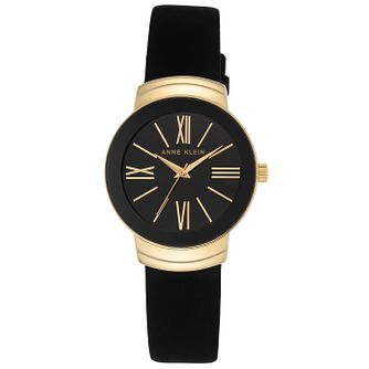 Anne Klein Ladies' Gold-Plated Black Suede Strap Watch - Product number 6246060