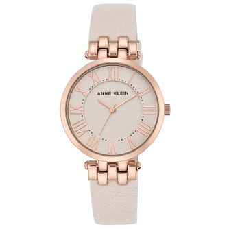 Anne Klein Ladies' Rose Gold Tone Cream Leather Strap Watch - Product number 6246095