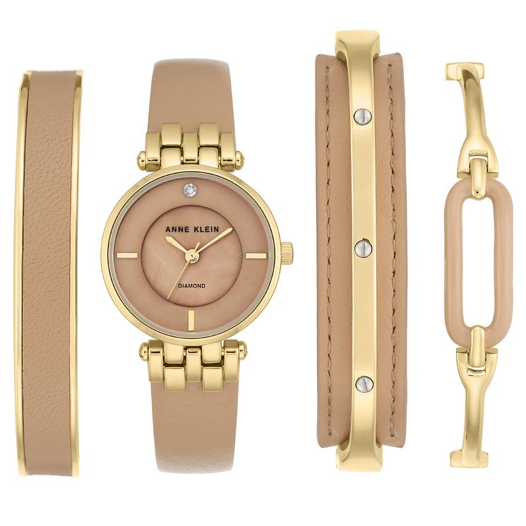 Anne Klein Ladies' Tan Leather Strap Watch & Bracelets - Product number 6246109