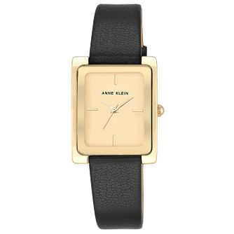 Anne Klein Ladies' Champage Gold Black Leather Strap Watch - Product number 6246117
