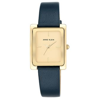 Anne Klein Ladies' Rectangular Dial Navy Leather Strap Watch - Product number 6246125
