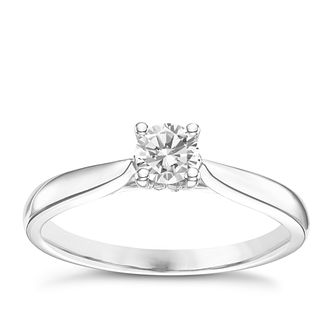9ct White Gold 1/4ct Diamond Solitare Ring - Product number 6248470