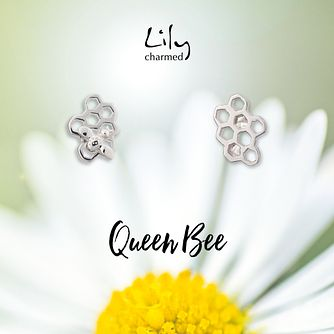 Lily Charmed Silver Honeycomb Stud Earrings - Product number 6250904