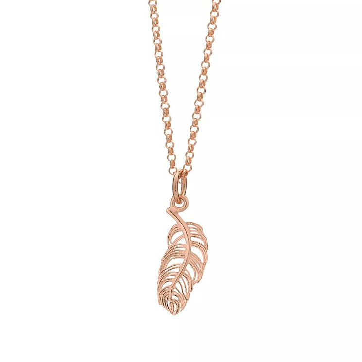 Lily Charmed Silver Rose Gold-Plated Feather Pendant - Product number 6250947
