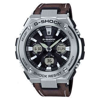 G-Shock Stainless Steel & Brown Leather Strap Watch - Product number 6251099