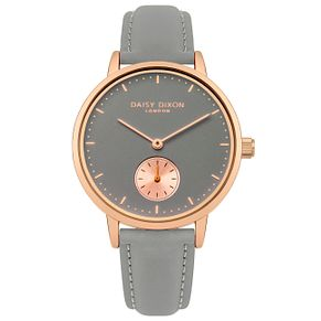 Daisy Dixon Sadie Ladies' Rose Tone Grey Leather Strap Watch - Product number 6251226