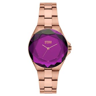 STORM Ladies' Crystana Purple Dial Rose Gold Plated Watch - Product number 6251412