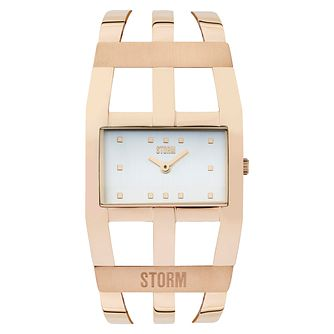 STORM Zoa Ladies' White Dial Rose Gold-Plated Bangle Watch - Product number 6251536