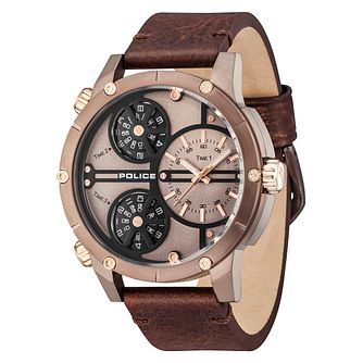 Police Men's Multi Dial Brown Leather Strap Watch - Product number 6251676