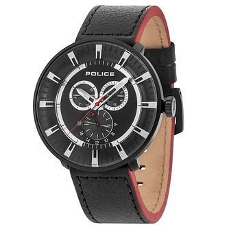 Police Men's Black Multi Dial Black Leather Strap Watch - Product number 6251706