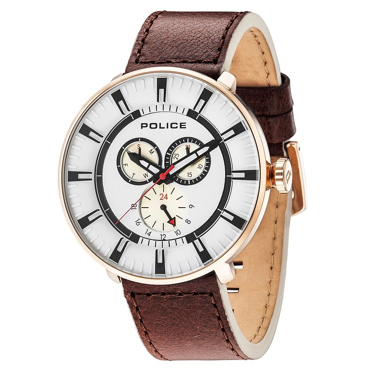 Police Men's White Multi Dial Brown Leather Strap Watch - Product number 6251714