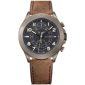 Tommy Hilfiger Men's Brown Leather Strap Watch - Product number 6252060