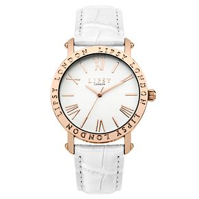 Lipsy Ladies' Rose Gold-Plated White PU Strap Watch - Product number 6252125