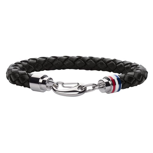 Tommy Hilfiger Men's Black Leather Cord & Chain Bracelet - Product number 6252885
