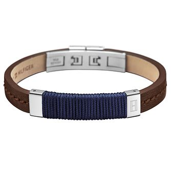 Tommy Hilfiger Men's Brown Leather & Rope Bracelet - Product number 6252990