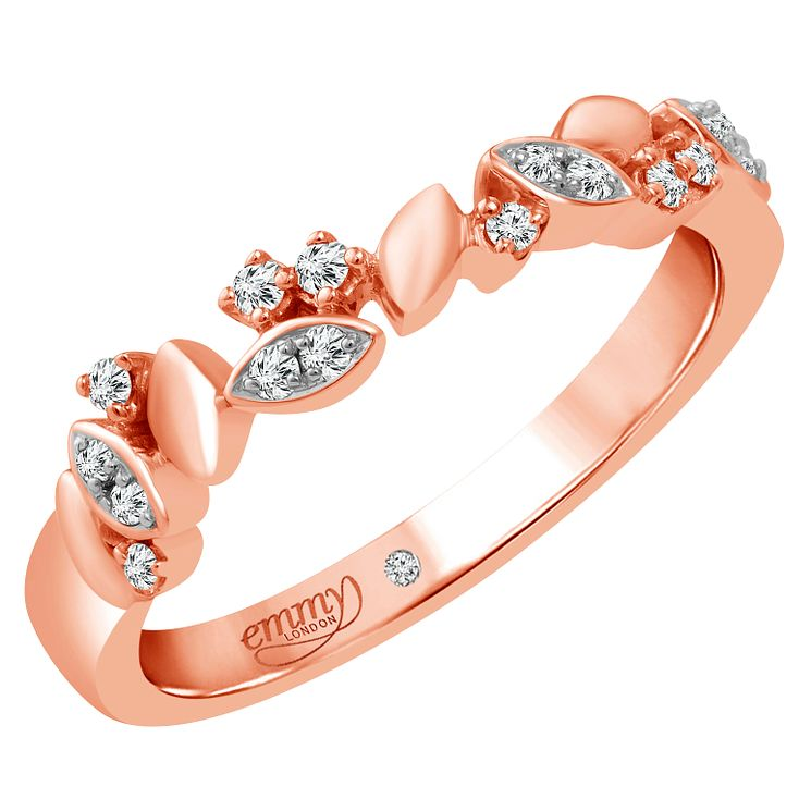 Emmy London 18 Carat Rose Gold 1/10 Carat Diamond Set Ring - Product number 6254799