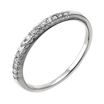 9ct White Gold 15 Point Diamond Wedding Ring