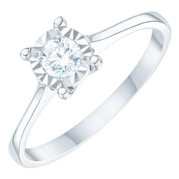 9ct White Gold 1/4 Carat Diamond Solitaire Ring - Product number 6272347