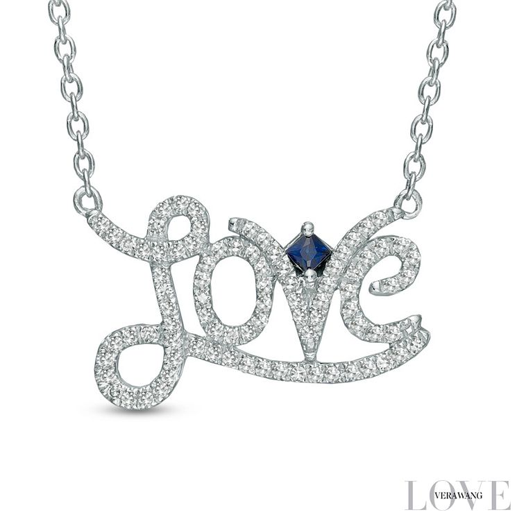 Vera Wang Silver 0.18ct Diamond and Sapphire Love Necklace - Product number 6276989