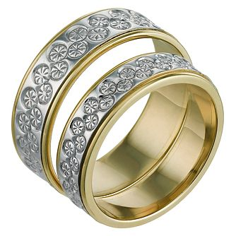 9ct White & Yellow Gold 5 & 6mm Diamond Cut Ring Pair - Product number 6287417