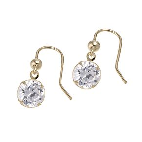 9ct Yellow Gold Cubic Zirconia 6mm Drop Earrings - Product number 6299458