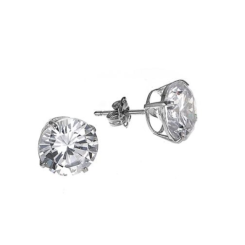 9ct White Gold Cubic Zirconia Round Claw Stud Earrings 9mm - Product number 6300413