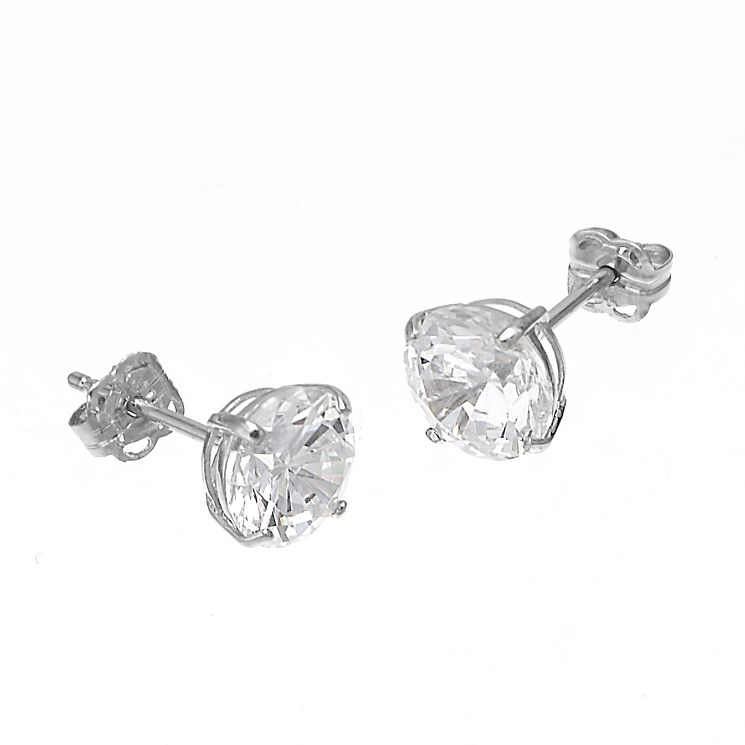 9ct White Gold Cubic Zirconia Round Claw Stud Earrings 7mm - Product number 6300448