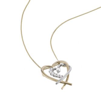9ct Two Colour Gold Cubic Zirconia Heart Pendant - Product number 6302009