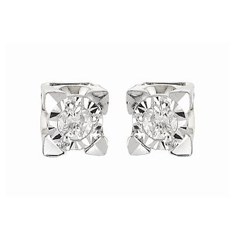 9ct White Gold Diamond Stud Earrings - Product number 6313809
