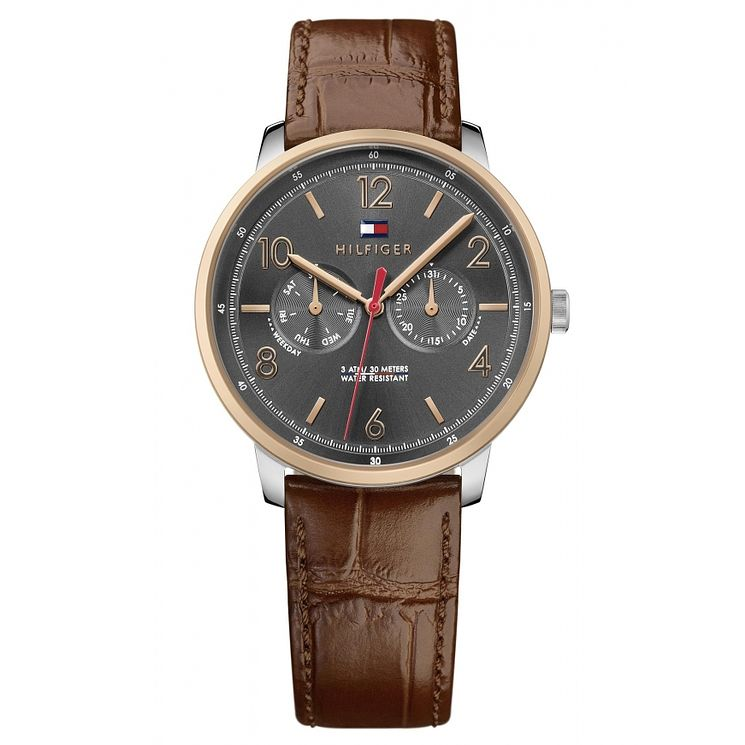Tommy Hilfiger Men's Brown Leather Strap Watch - Product number 6319882